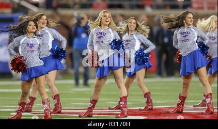 Dallas, Texas, USA. 16th Nov, 2018. The SMU Pom team performs during a timeout at the NCAA Football game between the SMU Mustangs and the Memphis Tigers at Gerald J. Ford Stadium in Dallas, Texas. Kyle Okita/CSM/Alamy Live News - Stock Photo