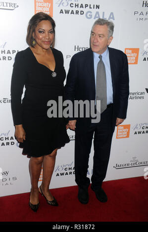 NEW YORK, NY - APRIL 25: Grace Hightower, Robert De Niro attends the 43rd Chaplin Award Gala on April 25, 2016 in New York City  People:  Grace Hightower, Robert De Niro - Stock Photo