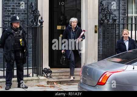 London, UK. 21st November, 2018. Prime Minister Theresa May leaves 10 Downing Street to attend Prime Minister's Questions in the House of Commons on the day on which she is scheduled to travel to Brussels to attend discussions with Jean-Claude Juncker, President of the European Commission, regarding a political declaration to accompany the EU withdrawal agreement. Credit: Mark Kerrison/Alamy Live News