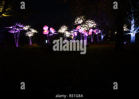 London, UK. 21st November, 2018. Press Preview: spectacular light trail at Christmas at Kew garden, Victoria Gate on Wednesday 21st November 2018, London, UK. Credit: Picture Capital/Alamy Live News