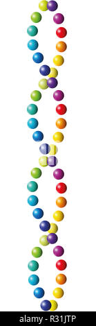 Colorful double helix from many balls. Rainbow colored rows of pearls like an abstract color spectrum DNA. Seamless extendable. - Stock Photo