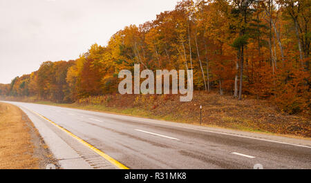 No traffic on the wet highway flanked by fall color in New England on the open road - Stock Photo
