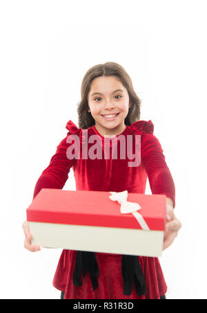 Feeling so excited. Small cute girl received holiday gift. Best toys and christmas gifts. Kid little girl in elegant dress hold gift box white background. Child excited about unpacking her gift. - Stock Photo