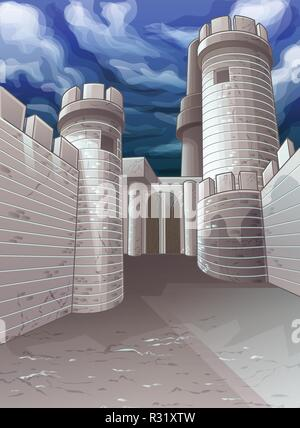 Vector fortress and sky background. - Stock Photo