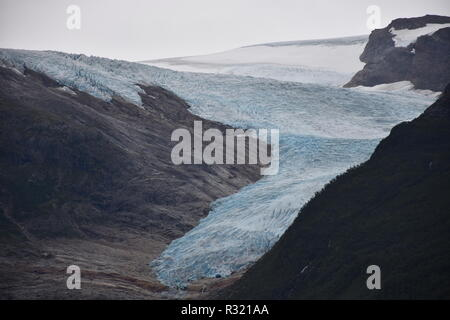 Gletscher, Svartisen, Svartisengletscher, Saltfjellet, Nationalpark, Fjord, Holandsfjorden, Nordfjorden, Schnee, Eis, Eisschicht, kalt, mächtig, Zunge - Stock Photo