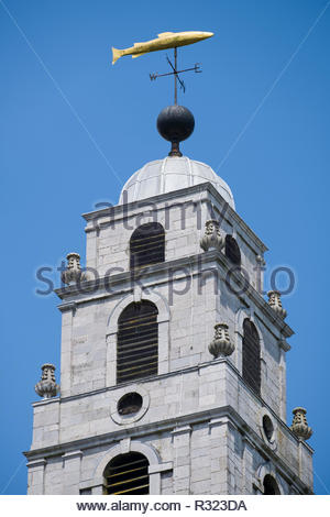 Weather vane in the form of a salmon on top of the Church of St Anne tower, Shandon, Cork, County Cork, Munster, Ireland - Stock Photo