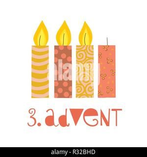 Three burning advent candles vector illustration. Third sunday in advent. 3. Advent german text. Flat Holiday design with candles on white background. - Stock Photo