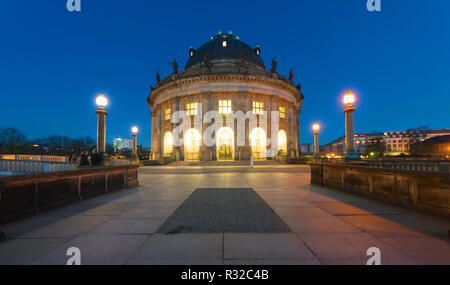 the bodemuseum after sunset - Stock Photo