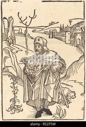 Gerson as Pilgrim with Town in Background. Dated: in or before 1488. Medium: woodcut. Museum: National Gallery of Art, Washington DC. Author: German 15th Century. Dürer, Albrecht. - Stock Photo