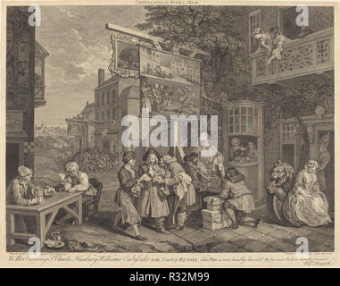 Canvassing for Votes. Dated: 1757. Medium: etching and engraving. Museum: National Gallery of Art, Washington DC. Author: Charles Grignion after William Hogarth. William Hogarth. after William Hogarth. - Stock Photo