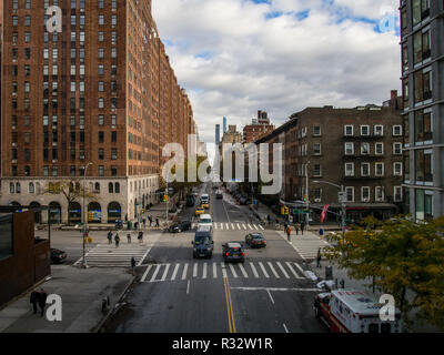 New York - United States, November 16 - 2018 People and traffic at the street in Chelsea - Stock Photo