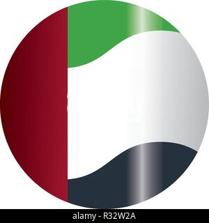 united arab emirates flag round icon cartoon vector illustration graphic design - Stock Photo