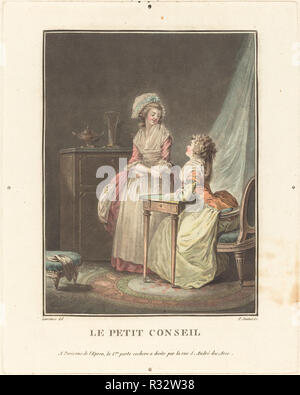 Le petit conseil. Medium: color aquatint. Museum: National Gallery of Art, Washington DC. Author: Jean-François Janinet after Nicolas Lavreince. - Stock Photo