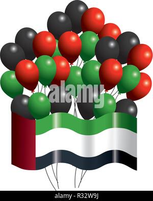 united arab emirates flag with balloons cartoon vector illustration graphic design - Stock Photo