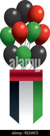 united arab emirates flag shield with balloons cartoon vector illustration graphic design - Stock Photo