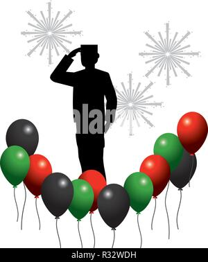 united arab emirates balloons with flag colors and soldier with gundpowder cartoon vector illustration graphic design - Stock Photo