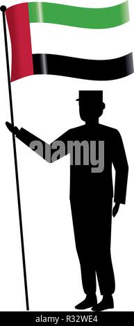 united arab emirates flag with soldier cartoon vector illustration graphic design - Stock Photo