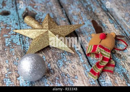 Christmas decoration on wooden floor - Stock Photo