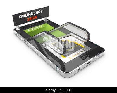 3d Illustration of smartphone with escalator on the screen, Shopping Online Concept. - Stock Photo