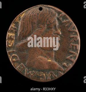 Lorenzo de' Medici, il Magnifico, 1449-1492 [obverse]. Dimensions: overall (diameter): 3.3 cm (1 5/16 in.). Medium: bronze. Museum: National Gallery of Art, Washington DC. Author: BERTOLDO DI GIOVANNI. - Stock Photo