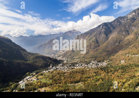 Valley of Chiavenna, forest and little villages. Tourism in Valchiavenna - Stock Photo