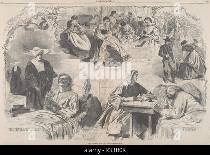 Our Women and the War. Dated: published 1862. Dimensions: image: 34.2 x 51.6 cm (13 7/16 x 20 5/16 in.)  sheet: 40.1 x 56.6 cm (15 13/16 x 22 5/16 in.). Medium: wood engraving on newsprint. Museum: National Gallery of Art, Washington DC. Author: after Winslow Homer. - Stock Photo