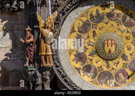 'Prazsky orloj', the astronomical clock of Prague's town hall, was built in 1410 by royal clockmaker Mikulas of Kadan - Stock Photo