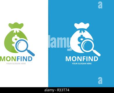 Vector bag and loupe logo combination. Sack and magnifying symbol or icon. Unique money and search logotype design template. - Stock Photo