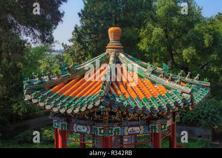 View of the temple roof from the top of Buddhist Yong'An (Temple of Everlasting Peace) in Beihai Park, Beijing, China - Stock Photo