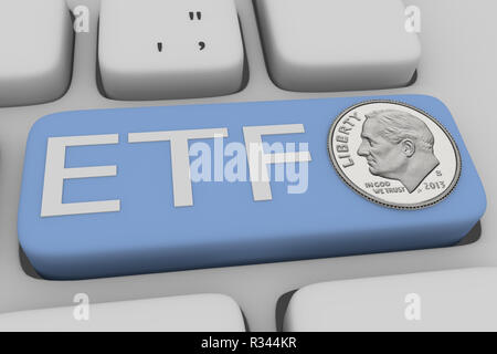 3D illustration of computer keyboard with the script ETF on a pale blue button, with a ONE DIME silver coin - Stock Photo