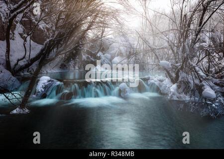 Waterfall at plitvice lakes during winter, Croatia, Europe - Stock Photo