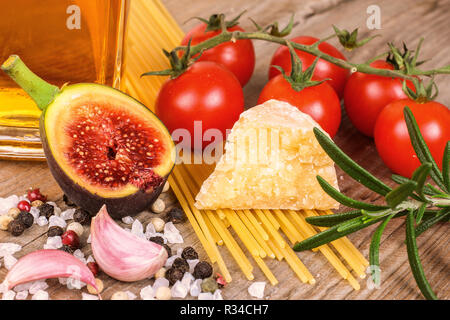 pasta,fig,oil,tomatoes,spices - Stock Photo