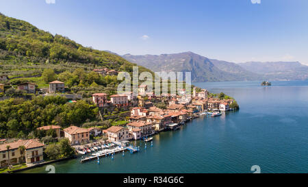 Monte Isola, Iseo Lake. Village of Carzano. Aerial photo - Stock Photo