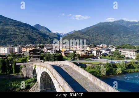 Ganda bridge, city of Morbegno. Valtellina - Stock Photo