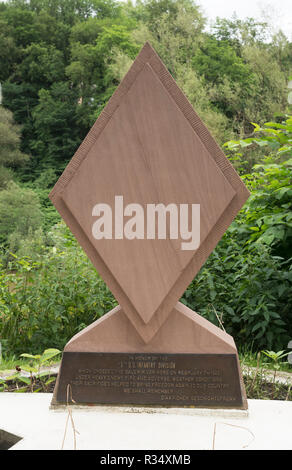 War memorial sculpture to the soldiers of the 5th U.S. Infantry Division killed crossing the river Sauer, near Echternach, Grevenmacher, Luxembourg - Stock Photo