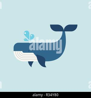 Whale in flat style. Vector illustration - Stock Photo