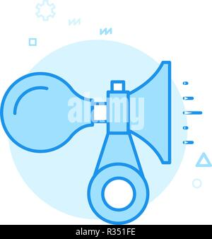 Bike or Bicycle Horn Flat Vector Icon, Symbol, Pictogram, Sign. Blue Monochrome Design. Editable Stroke - Stock Photo