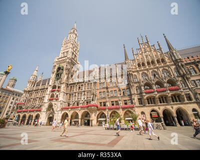 Munich, Germany - August 5, 2018: New Town Hall on Marienplatz square in Munich. - Stock Photo