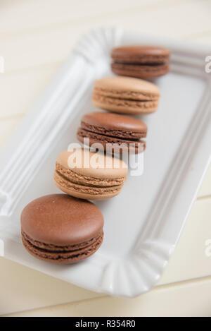 Chocolate Macarons - Stock Photo
