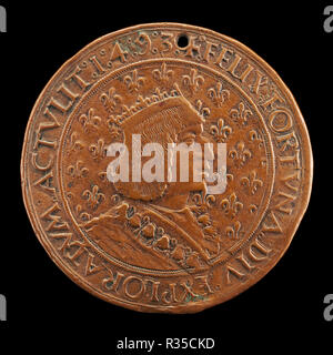 Charles VIII, 1470-1498, King of France 1483 [obverse]. Dated: 1493/1494. Dimensions: overall (diameter): 4.08 cm (1 5/8 in.)  gross weight: 14.16 gr (0.031 lb.)  axis: 6:00. Medium: bronze//Struck. Museum: National Gallery of Art, Washington DC. Author: Louis Lepère, Nicolas de Florence, and Jean Lepère. - Stock Photo