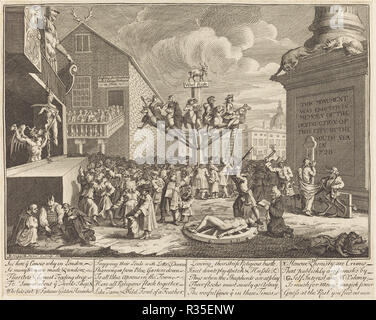The South Sea Scheme. Dated: 1721. Medium: etching and engraving. Museum: National Gallery of Art, Washington DC. Author: William Hogarth. after William Hogarth. - Stock Photo