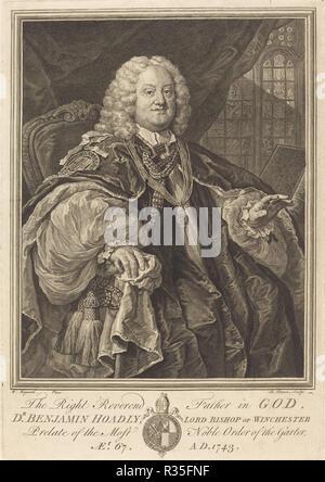 Bishop Hoadly. Dated: 1743. Medium: engraving. Museum: National Gallery of Art, Washington DC. Author: Bernard Baron after William Hogarth. after William Hogarth. - Stock Photo