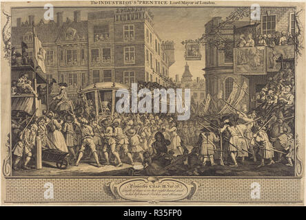 The Industrious 'Prentice Lord-Mayor of London. Dated: 1747. Medium: etching and engraving. Museum: National Gallery of Art, Washington DC. Author: William Hogarth. - Stock Photo