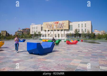 The National Museum of History (Albanian, Muzeu Historik Kombetar) in Skanderbeg Square in Tirana, the capital and biggest city of Albania. September  - Stock Photo