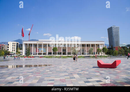 The National Theatre of Opera and Ballet of Albania (TKOB) in Skanderbeg Square in Tirana, the capital and biggest city of Albania. September 7, 2018. - Stock Photo