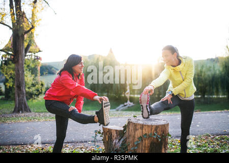 Two female runners stretching outdoors in park in autumn nature at sunset. - Stock Photo