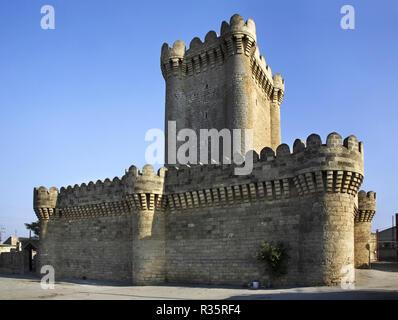 Quadrangular castle in Mardakan. Azerbaijan - Stock Photo
