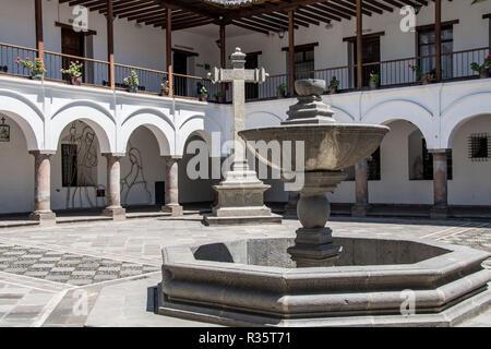 Inner courtyard of the Palacio Arzobispal in the Plaza de la Independencia in Quito - Stock Photo
