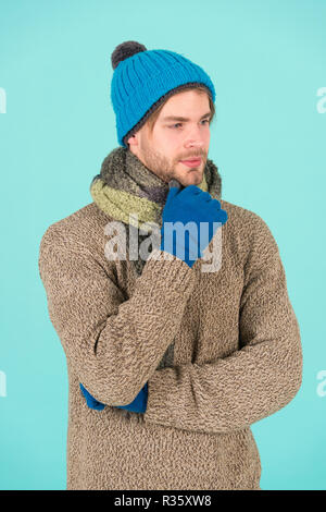 Its holiday time. Man wear warm clothes during winter holiday. Handsome man got cold and flu in winter. Cold season ahead. - Stock Photo