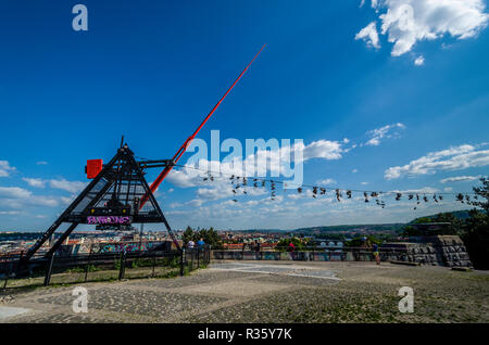 The Metronome is a 23 m high, functional metronome located overlooking the river 'Vltava' and the city center of Prague - Stock Photo